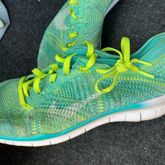 Nike Custom Turquoise and Lime Green Sneakers